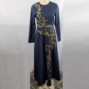eShakti Blue & Yellow Embroidered Maxi Dress Sz S